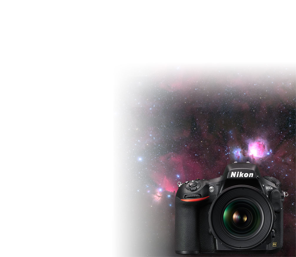 Product photo of the D810A with the background of a nebulae photographed with the camera