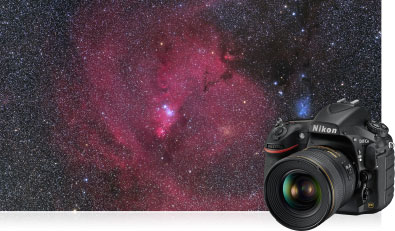 Product photo of the D810A inset to a photo of a nebulae shot with the camera