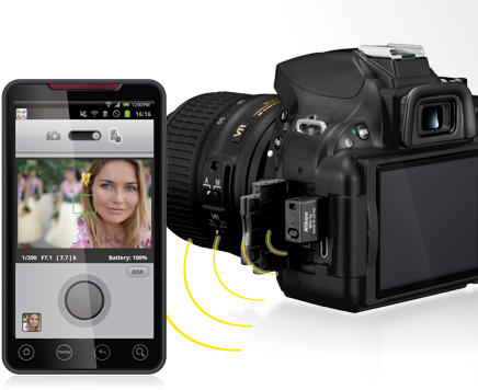 photo of the D5200 with WU-1a adapter and image on smartphone using wireless utility app