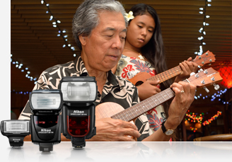 photo of man and woman playing the ukulele and product photos of three Speedlights