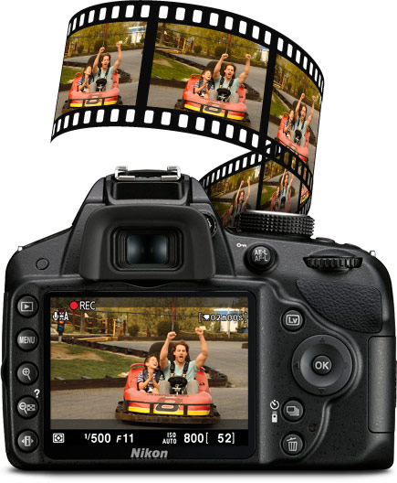 View of the rear of the D3200 HD-SLR with HD video example on LCD