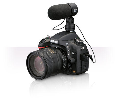 Product photo of the Nikon D610 with a lens and ME-1 Stereo Microphone attached