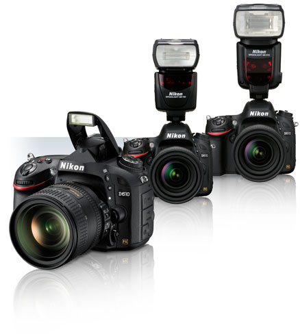 Product photos of the Nikon D610 with lenses attached and Speedlights