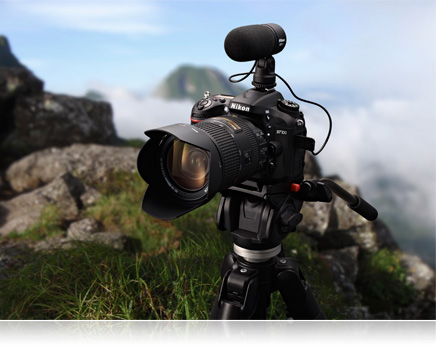 Nikon D7100, lens and ME-1 microphone on a tripod on a mountaintop