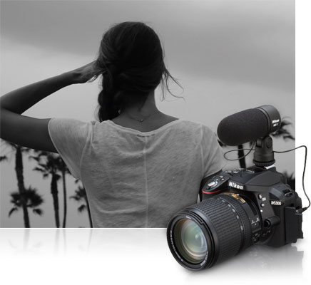 D5300 photo of a woman, shot from behind, in black and white, inset with a shot of the camera with a lens and ME-1 stereo mic attached