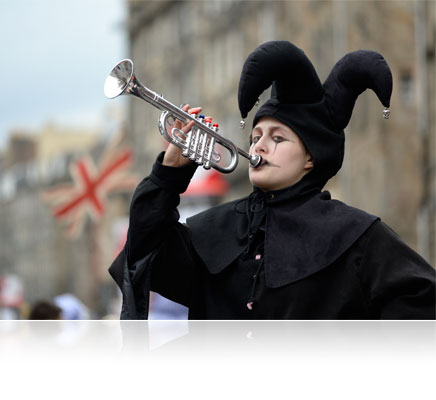 Photo of a trumpeter dressed in costume shot with the Nikon Df