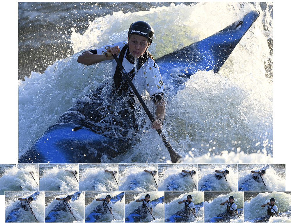 D6 DSLR photo of a kayaker with a continuous burst group of thumbnail images of the scene