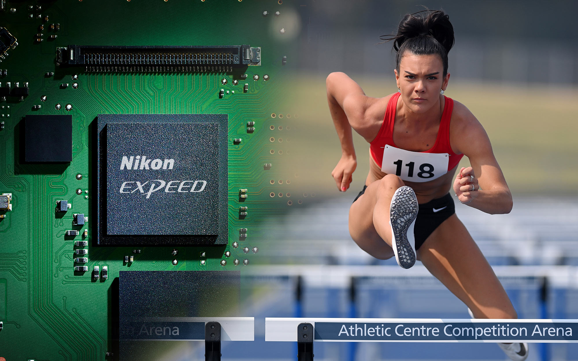 Photo of a track runner taken with the D6 DSLR composited with the EXPEED chip