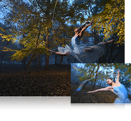 Photo of a ballerina in the forest inset with a closer view of the ballerina, lit with the SB-5000 Speedlight