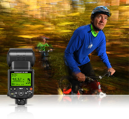 Photo of mountain bikers in the forest, lit with SB-5000 Speedlights, inset with the rear view of an SB-5000