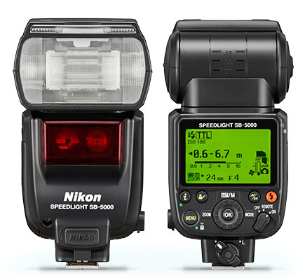 Photo of the front and the back of an SB-5000 Speedlight