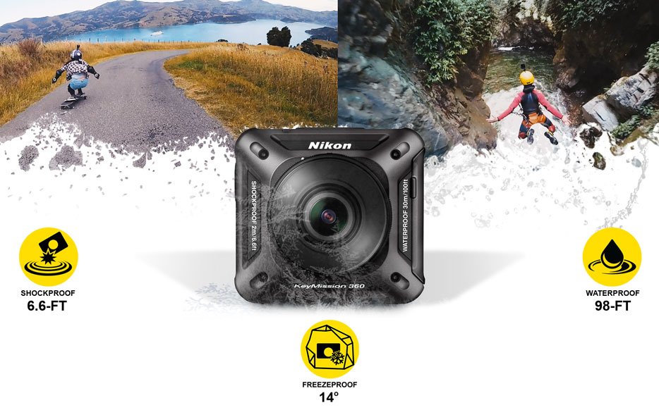 Composite photo of a skateboarder, bungee jumper and the KeyMission 360 camera with icons for shockproof, freezeproof, waterproof
