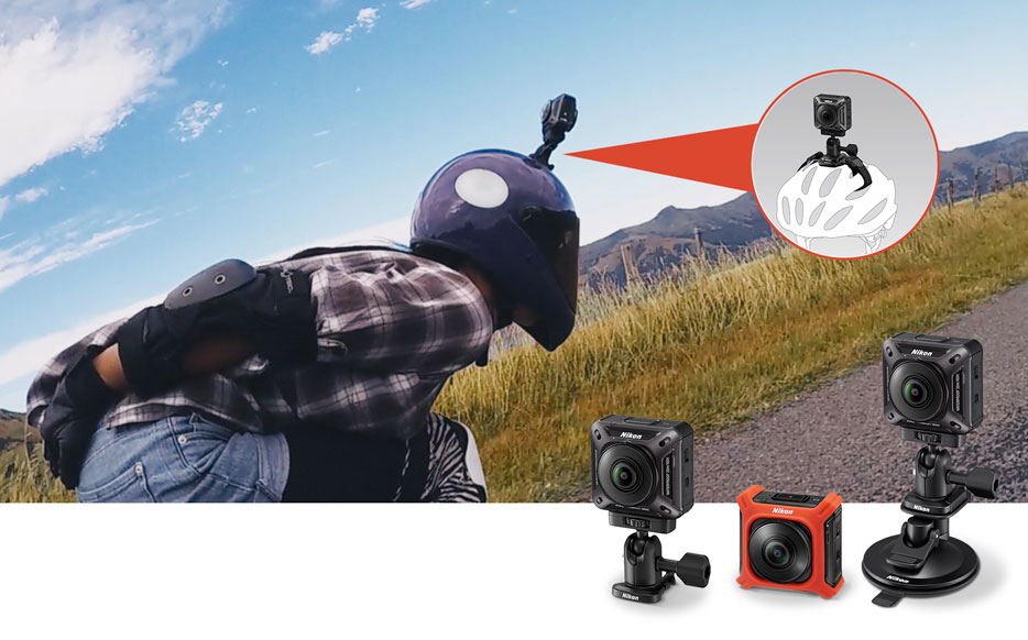 Photo of a skateboarder with the KeyMission 360 mounted on her helmet inset with various mounts for the camera