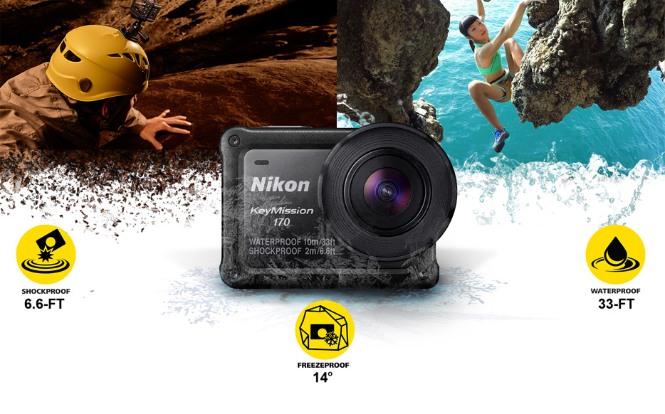 Composite photo of two rock climbers, the KeyMission 170 camera and shockproof, waterproof and freezeproof icons