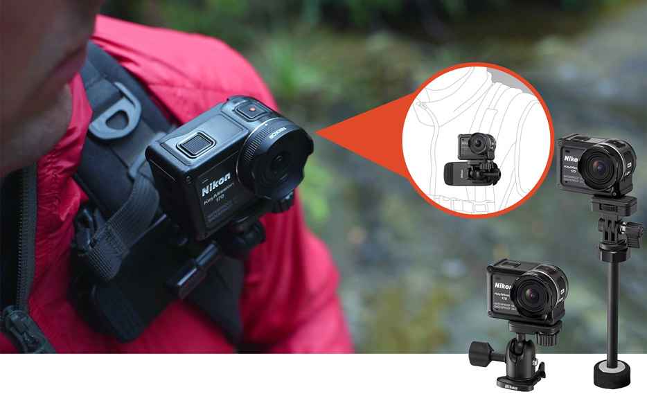 Photo of the KeyMission 170 mounted on a backpack with various mounts inset