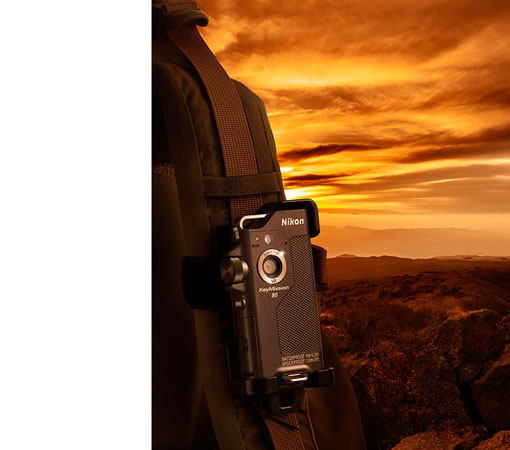 product photo of the KeyMission 80 camera shot at sunset