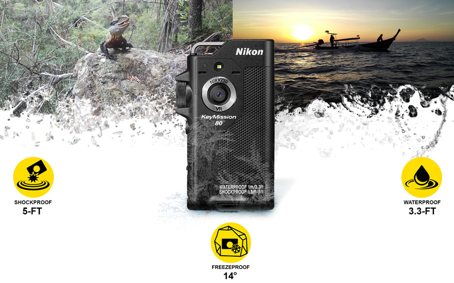 Composite photo of a lizard on a rock, and a boat at sunset with the KeyMission 80 and icons for shockproof, waterpoof and freezeproof inset