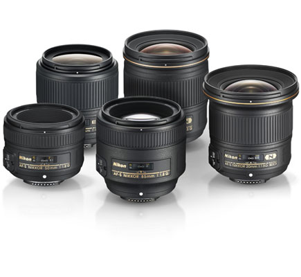 Photos of the five Nikon f/1.8 lens series lenses