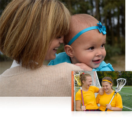 Photo of a woman holding a baby, inset with a photo of two girls in sports attire shot with the AF-S DX NIKKOR 18-55mm f/3.5-5.6G VR II