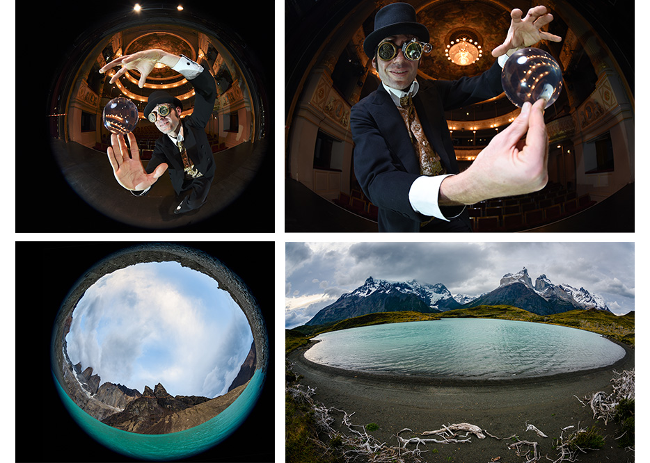 Group of four images, two of a magician and two of a landscape, each shot at 8mm and 15mm with the AF-S Fisheye NIKKOR 8-15mm f/3.5-4.5E ED lens