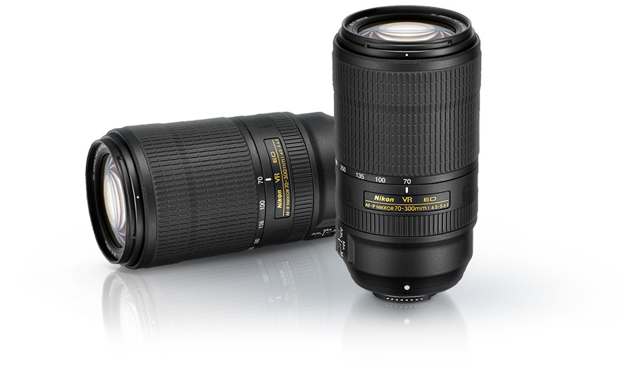 Photo of two AF-P NIKKOR 70-300mm f/4.5-5.6E ED VR lenses