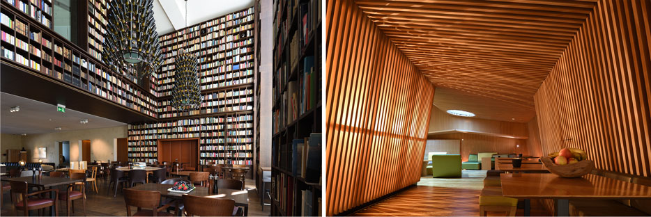 Side by side photos (a library on the left and a modern home on the right, shot with the PC NIKKOR 19mm f/4E ED lens