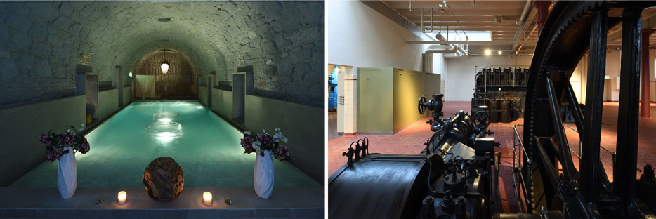 Side by side photos of an indoor pool on the left and industrial room on the right, both shot with the PC NIKKOR 19mm f/4E ED lens