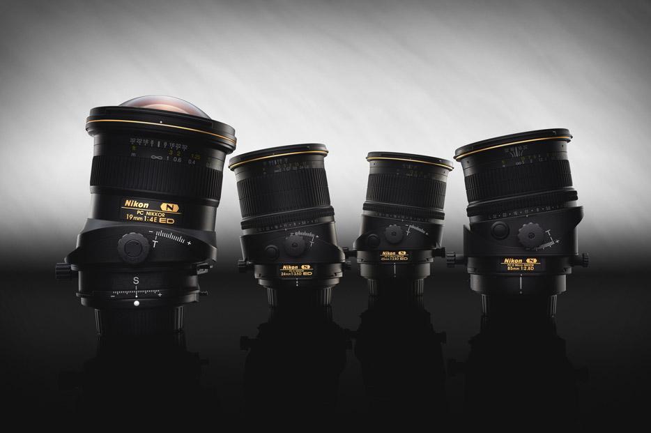 Photo of Nikon's range of PC lenses