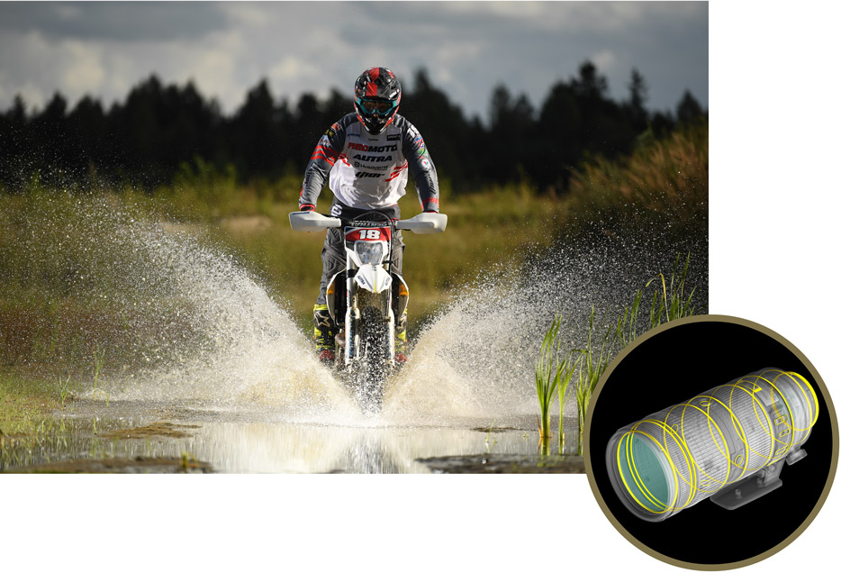 photo of a dirt bike rider spraying water inset with an illustration of weather seals of the AF-S NIKKOR 70-200mm f/2.8E FL ED VR lens