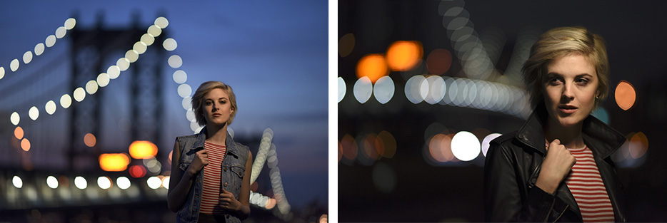 Two side by side portraits of a woman taken in low light using the AF-S NIKKOR 105mm f/1.4E ED lens, showing bokeh