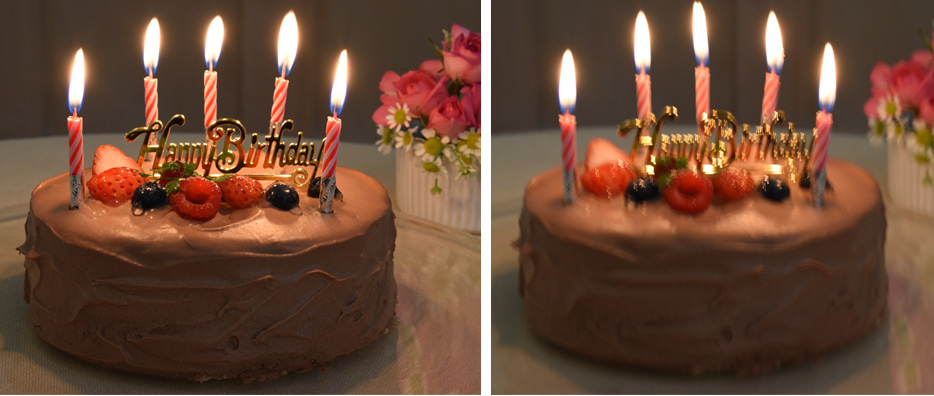 Side by side photos of a cake in low light with (on the left) and without (on the right) VR image stabilization