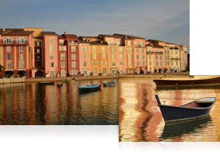 Foto de barcos em um canal alinhado com casas de vários andares coloridas, tiradas com a lente AF-S DX NIKKOR 18-300mm f/3.5-5.6G ED VR.
