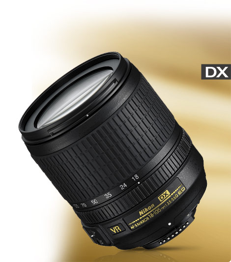 Product photo of the AF-S DX NIKKOR 18-105mm f/3.5-5.6G ED VR lens