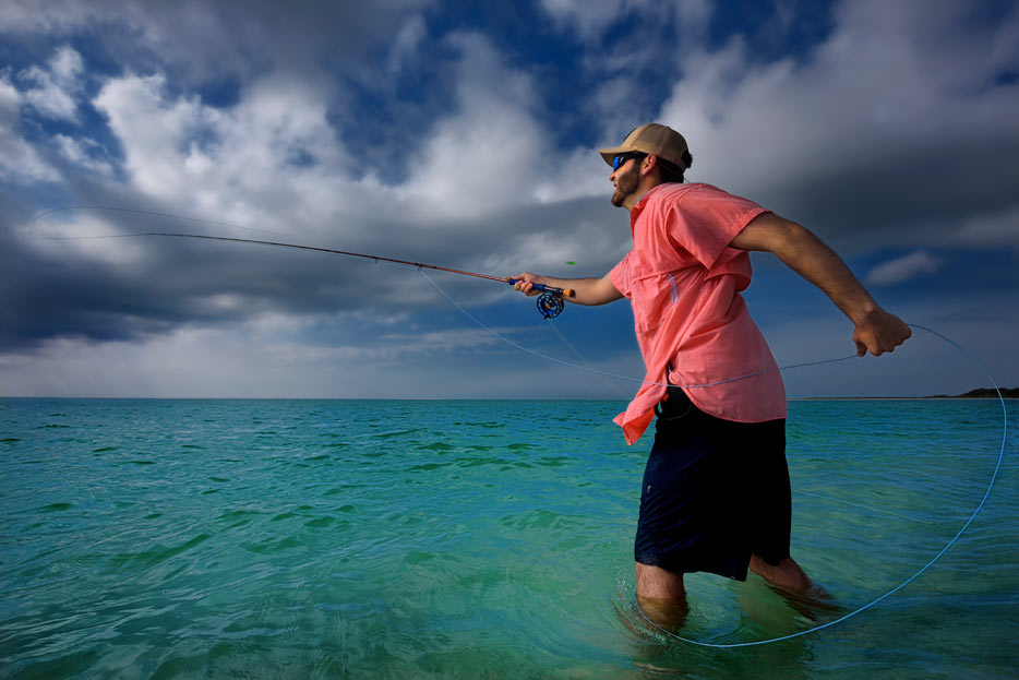 Photo of a man fly fishing, shot with the AF-S NIKKOR 16-35mm f/4G ED VR lens