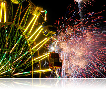 AF Zoom-NIKKOR 70-300mm f/4-5.6G lens used to shoot this photo of a ferris wheel lit at night with fireworks going off in the background