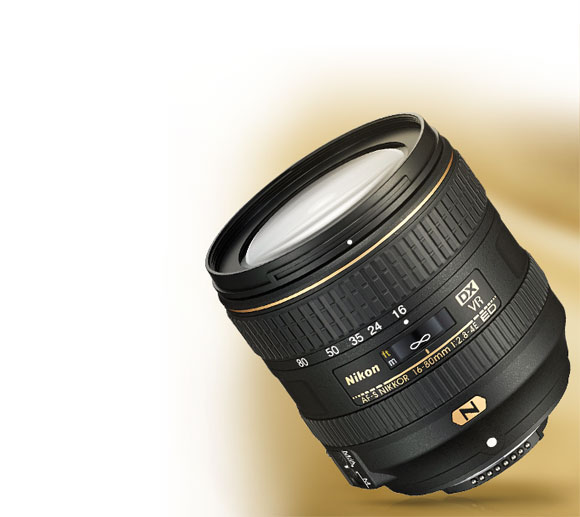Product photo of the AF-S DX NIKKOR 16-80mm f/2.8-4E ED VR lens.