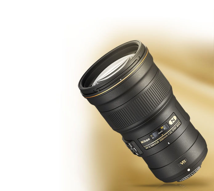 Product shot of the AF-S NIKKOR 300mm f/4E PF ED VR lens