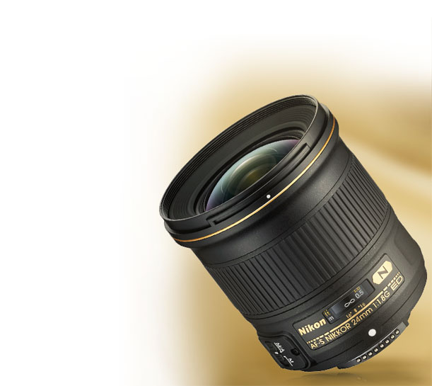 Product view of the AF-S NIKKOR 24mm f/1.8G ED lens
