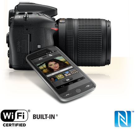 Product photo of the Nikon D7200 with a lens attached, a smartphone