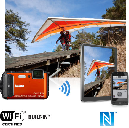 COOLPIX AW130 photo of tandem hang gliders with the image inset on a tablet and phone and the camera
