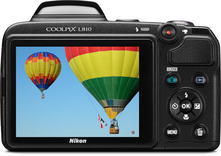 Back view of the COOLPIX L810 showing its 3-inch LCD screen.