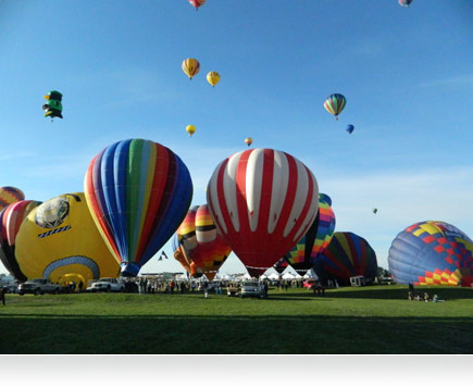 Photo of many hot air balloons taking flight.