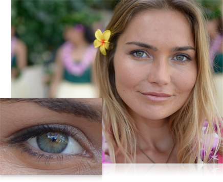 photo of a woman with a yellow flower behind her ear and inset photo close up of her eye