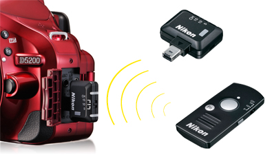 photo of a red D5200 with the WR-R10/WR-T10 remote control system