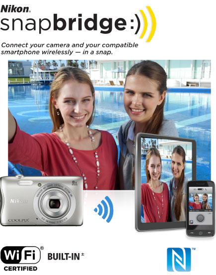 COOLPIX S3700 photo of two women with a pool in the background, the image on tablet and smartphone screens and the camera