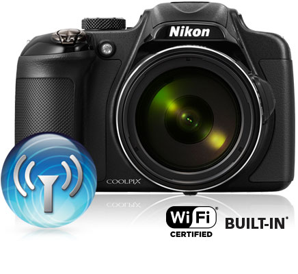 Photo of the COOLPIX P600 with the Wi-Fi icon and Wi-Fi certified built-in logo showing connectivity