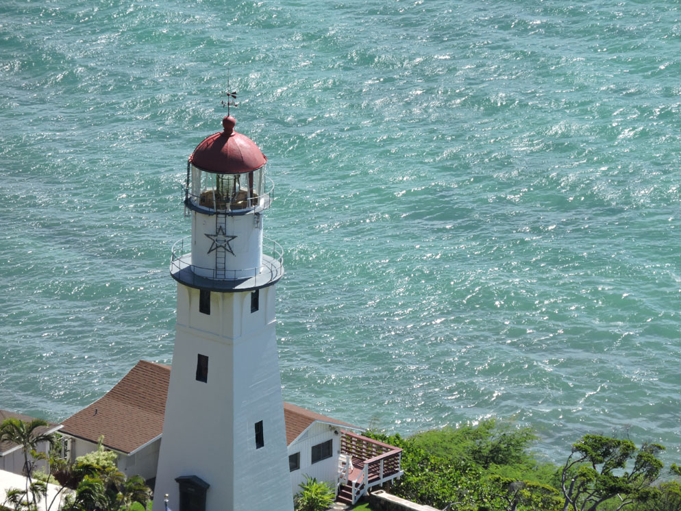 zoom slider - tight view showing lighthouse overlooking shore from above
