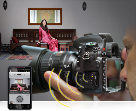 photo of a photographer looking into the viewfinder of the D600 while a model sits in a scene, along with the shot of the model on a smartphone
