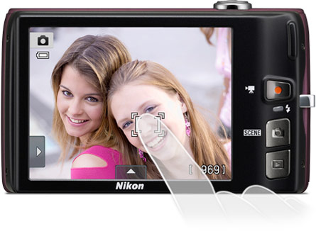 Image of the COOLPIX S4100's bright, 3-inch LCD Touch Screen display
