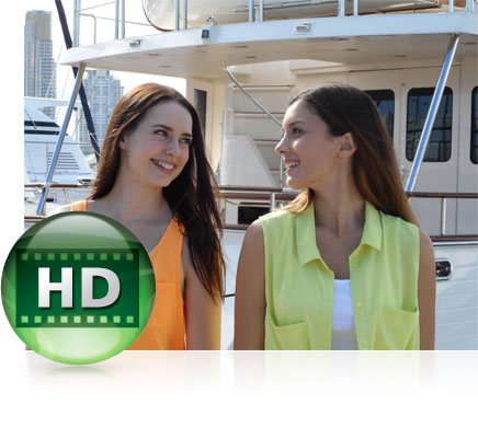 photo of two women on a boat, close up and the HD video icon